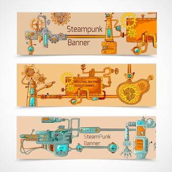 Conjunto de banners de steampunk