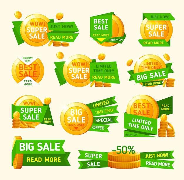 Conjunto de banners de super venta con monedas de oro.
