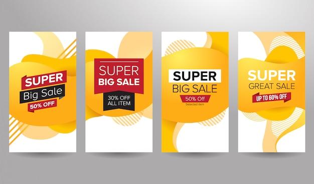 Conjunto de banners súper venta de temática amarilla