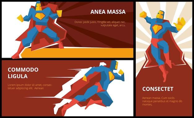 Conjunto de banners de superhéroe