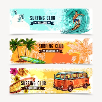 Conjunto de banners de surf