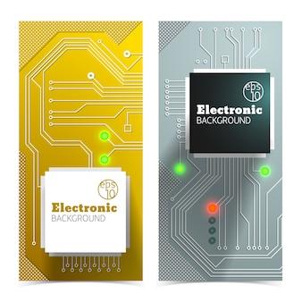 Conjunto de banners de tablero eléctrico.