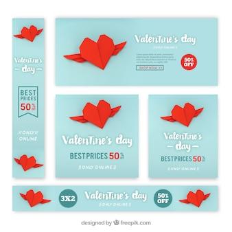 Conjunto de banners y tarjetas moderno azul para san valentin