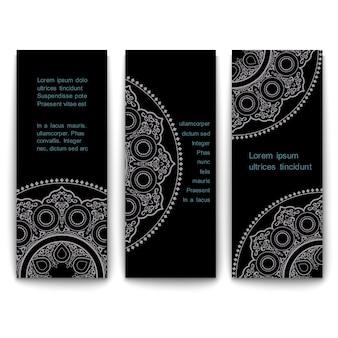 Conjunto de banners de tarjetas de plantilla vertical adornado en estilo oriental