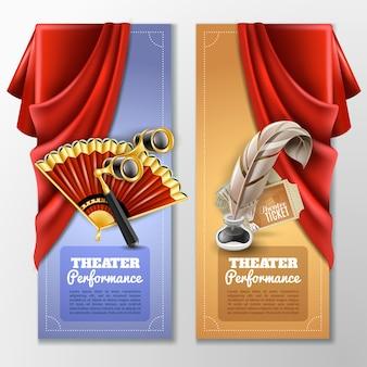 Conjunto de banners teatrales y escenarios