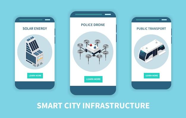 Conjunto de banners de tecnología de ciudad inteligente vertical