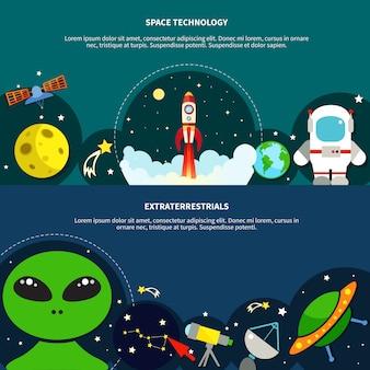 Conjunto de banners de tecnología espacial
