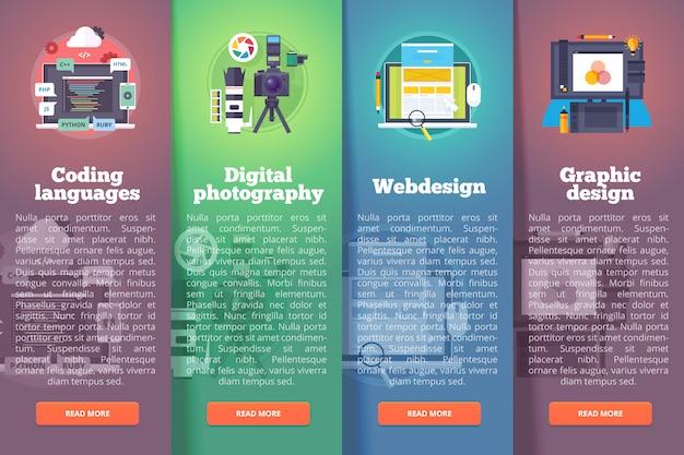 Conjunto de banners de tecnología de información. fotografía digital. programación. web y gráfica. conceptos de diseño vertical de educación y ciencia. estilo moderno.