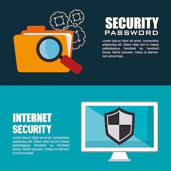 Conjunto de banners de tecnología de sistema de seguridad