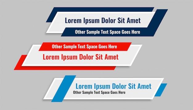 Conjunto de banners de tercio inferior geométrico moderno