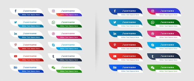 Conjunto de banners de tercios inferiores web de redes sociales