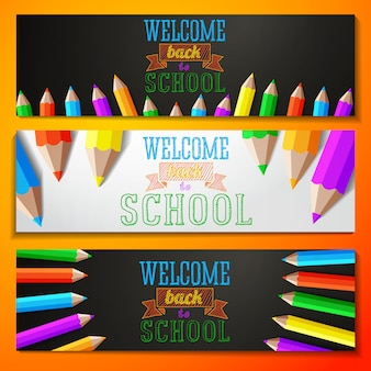 Conjunto de banners con texto de regreso a la escuela. vector