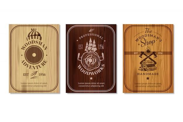 Conjunto de banners de textura de madera de leñador