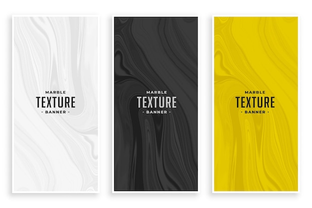 Conjunto de banners de textura de mármol abstracto