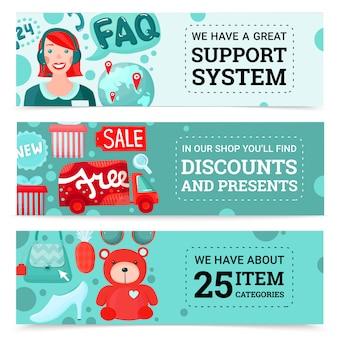 Conjunto de banners de tienda online