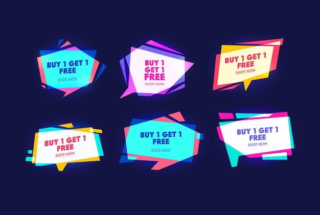 Conjunto de banners de tipografía de campaña comercial especial. compre una pieza y obtenga una más gratis. compras de fin de semana y festivos