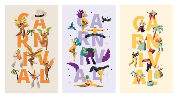 Conjunto de banners de tipografía de personajes exóticos de carnaval de brasil.