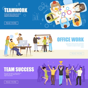 Conjunto de banners de trabajo en equipo