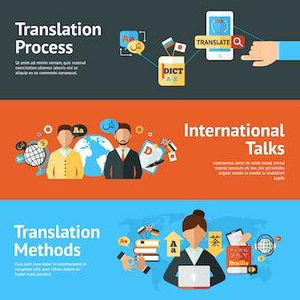 Conjunto de banners de traductor de idiomas
