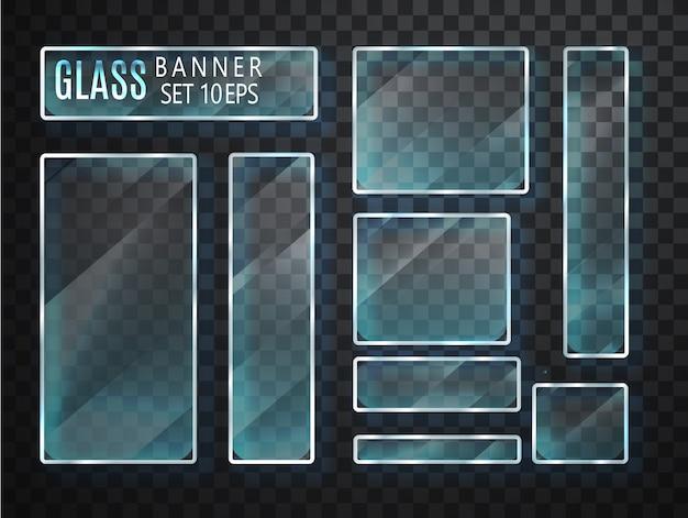 Conjunto de banners transparentes de vidrio. vidrio plano