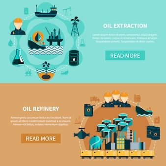 Conjunto de banners de transporte de petróleo