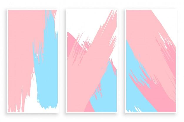 Conjunto de banners de trazo de pincel de pintura de color pastel abstracto