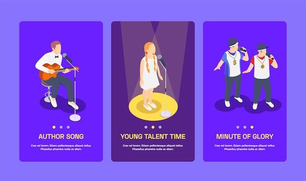 Conjunto de banners de tres shows de talentos isométricos