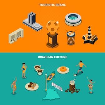 Conjunto de banners turísticos de brasil
