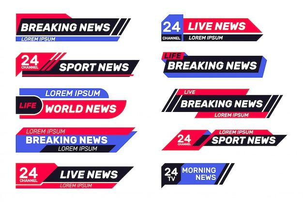 Conjunto de banners de tv de noticias de última hora