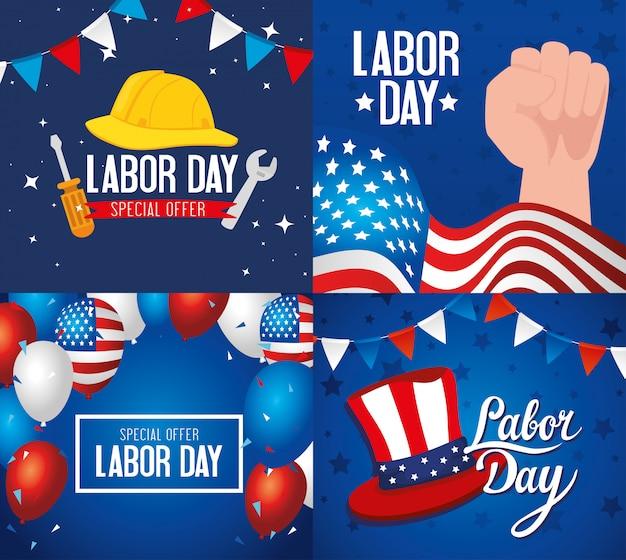 Conjunto de banners de vacaciones feliz día del trabajo con diseño de ilustración de decoración