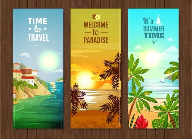 Conjunto de banners de vacaciones de mar agencia de viajes