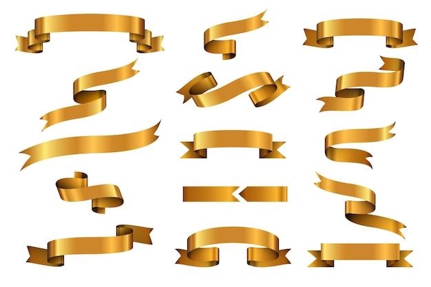 Conjunto de banners de vector de cinta brillante oro. etiqueta de cinta de oro brillante, etiqueta de cinta rizada, ilustración de cinta de oro brillante que agita