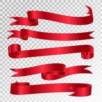 Conjunto de banners de vector de cinta roja brillante