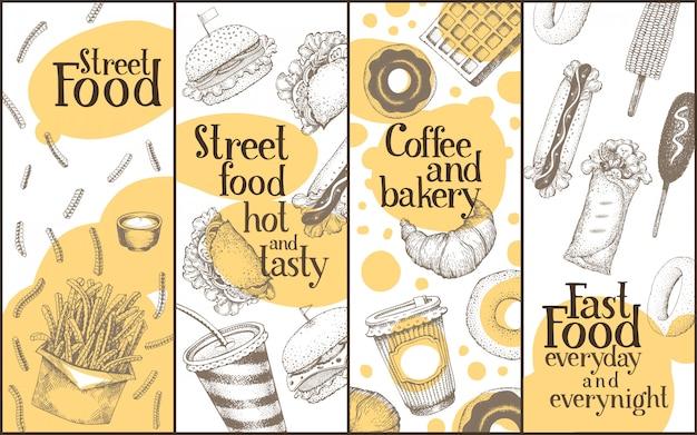 Conjunto de banners de vector de comida callejera.