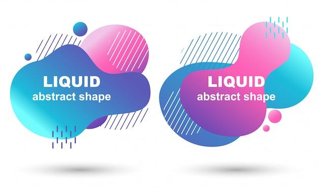 Conjunto de banners de vector gradiente moda flujo líquido
