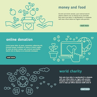 Conjunto de banners de vector humanitario