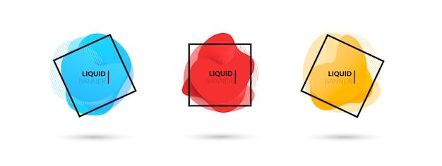 Conjunto de banners vector líquido abstracto moderno