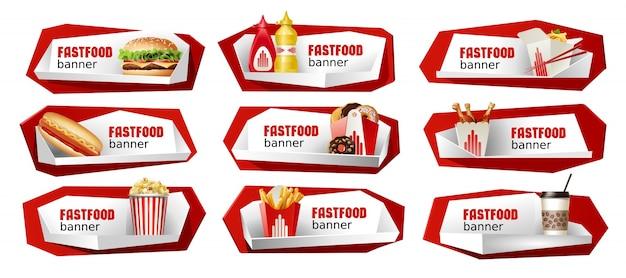 Conjunto de banners de vectores de comida rápida.