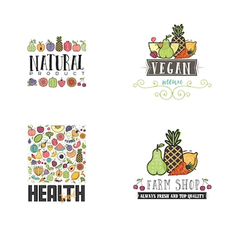 Conjunto de banners vegetarianos de frutas y verduras.