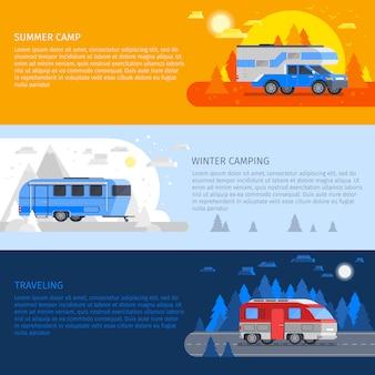Conjunto de banners de vehículos recreativos