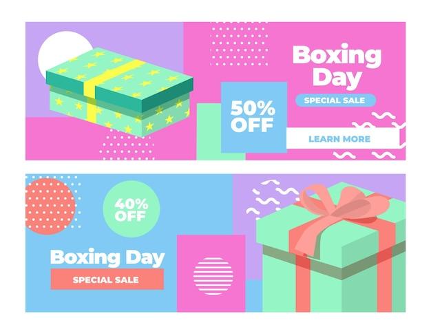 Conjunto de banners de venta de boxing day de diseño plano