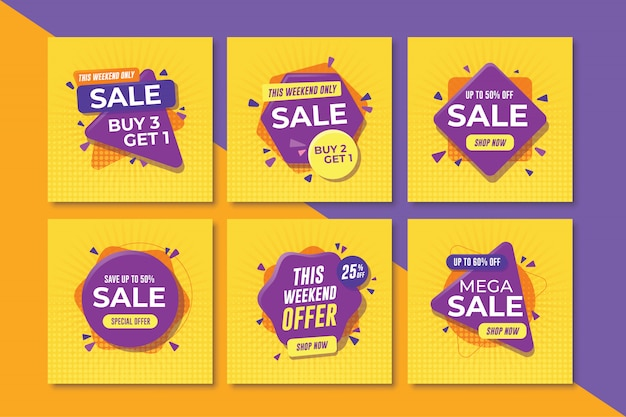 Conjunto de banners de venta cuadrados para redes sociales
