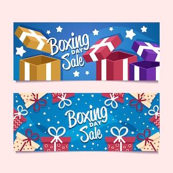 Conjunto de banners de venta de día de boxeo