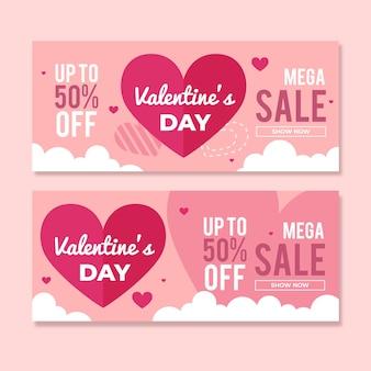 Conjunto de banners de venta de día de san valentín de diseño plano