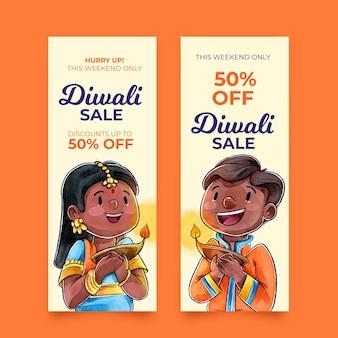 Conjunto de banners de venta de diwali