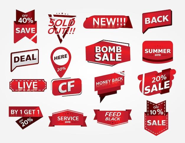 Conjunto de banners de venta y etiquetas de promoción.
