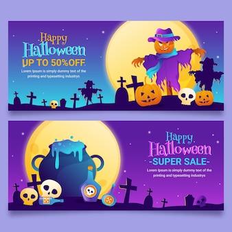 Conjunto de banners de venta de halloween degradado