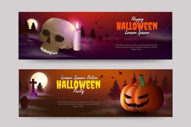 Conjunto de banners de venta de halloween horizontal realista