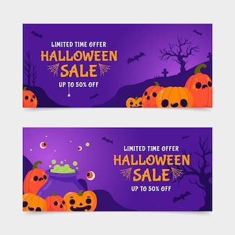 Conjunto de banners de venta de halloween plano horizontal