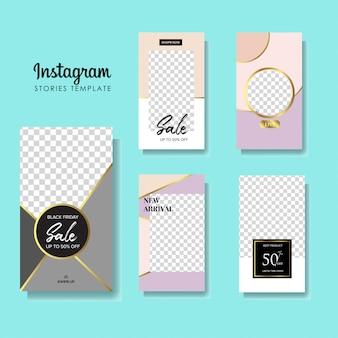 Conjunto de banners de venta de historias de instagram.